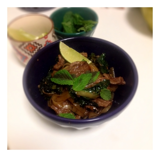 Beef Pad See Ew with Birdseye Chilis