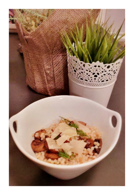 Mushroom Ragout with Truffled Israeli Couscous, Parmesan, Lemon, and Herbs